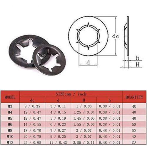 280PC Internal Tooth Starlock Push On Locking Washer Speed Clip Fastener Set M12