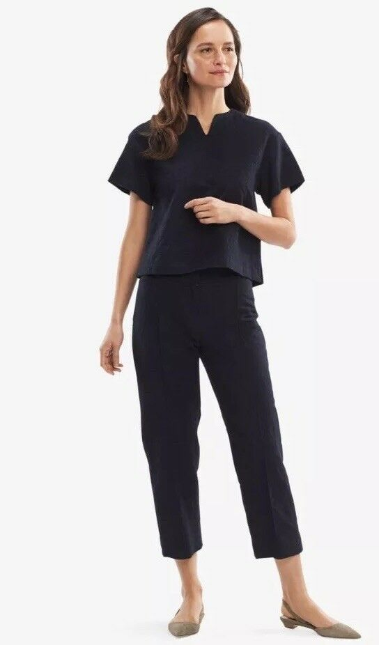 NWT MM Lafleur The Chester Pant—Cotton Jacquard Navy -  265 Größe 4 Work Career