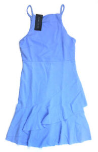 New-Look-Asymetrical-Ruffle-Hem-Dress-Light-Blue-US-Size-8-MSRP-32-00