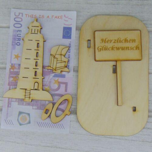Fragezeichen oder Wunschtext Personalisiert Leuchtturm Holz Geldgeschenk Rente