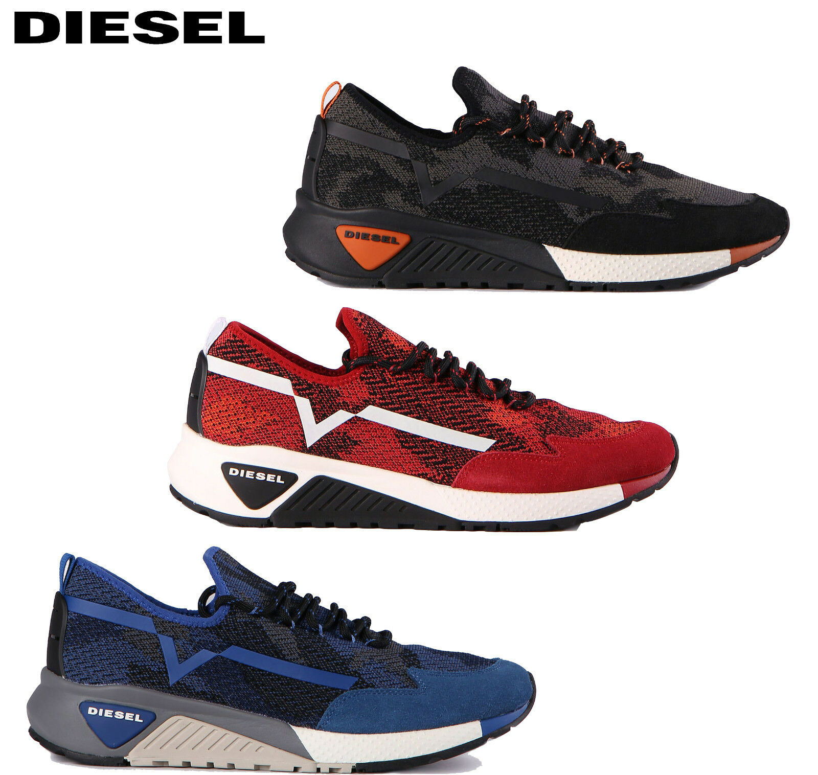 Scarpe casual da uomo  uomo Diesel Shoes SKB Knit Runner Diesel S-KBY Trainers Y01534 P1349 NEW