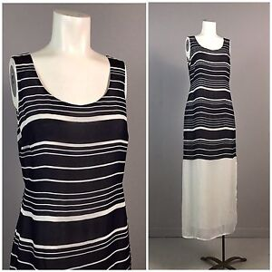 2f6715a919f57 Vintage 80s 90s Navy Blue and White Stripe Sheer Sleeveless Tie Maxi ...