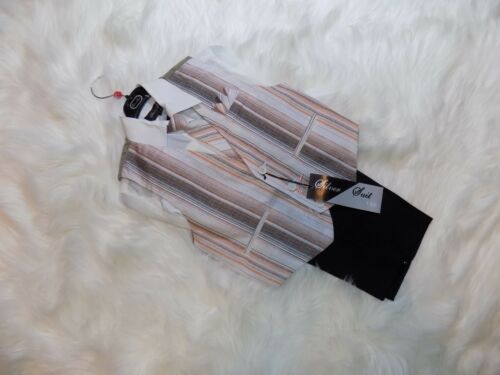 Boys Toddler Wedding Formal Party Vest Set Suits Size 4 Black Pants Bronze Vest