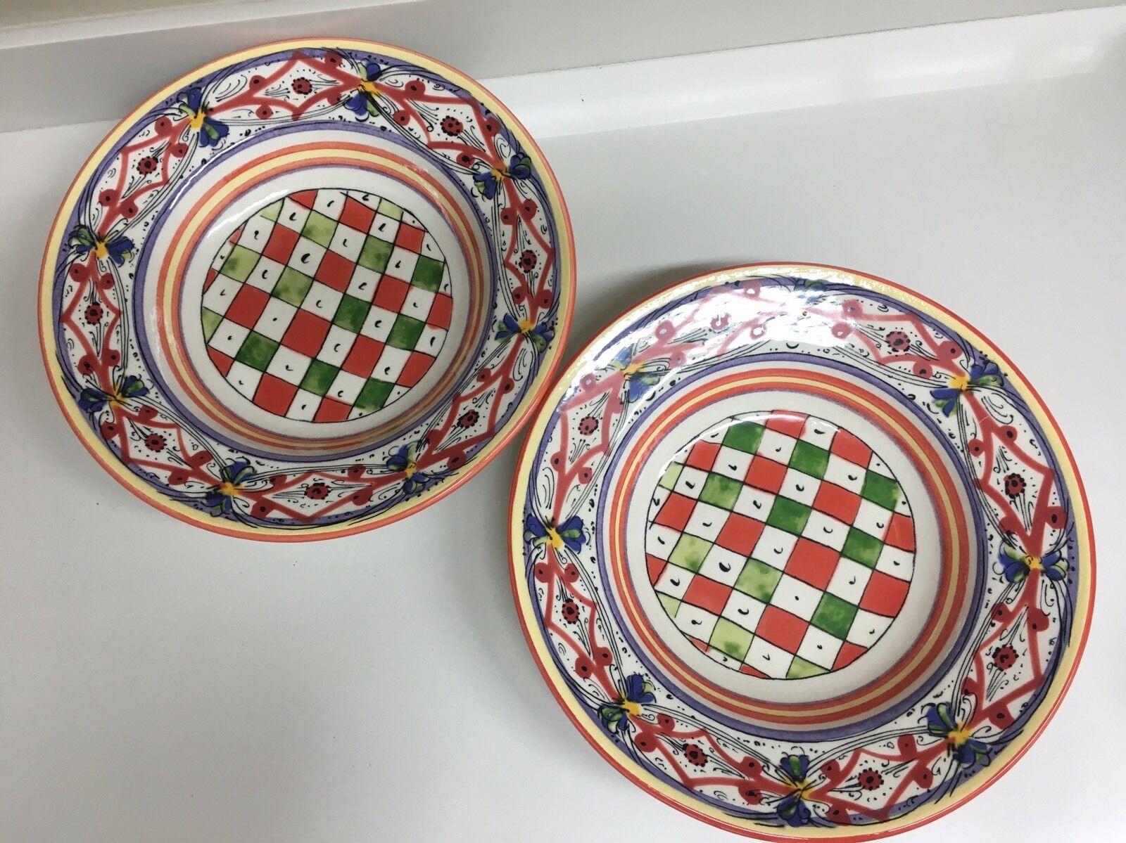 2 Williams Williams Williams Sonoma LUCCA Pasta Salad Serving Bowls Italian Pottery Large 14  db8b2d