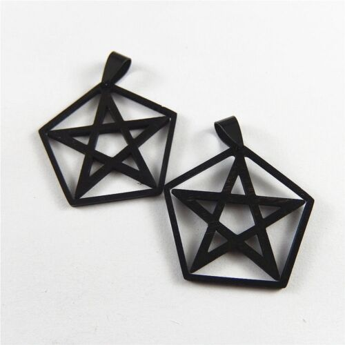 Gun Black Stainless Steel Pentagon With Five-pointed Star Pendant Charms 5pcs
