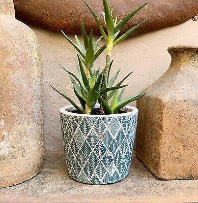 Grand Noir Dutch plant pot Cover craquelé céramique Géométrique Feuille JARDINIERE 20x16cm