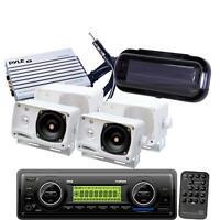 Marine Boat Mp3 Usb Aux Wb Radio Media Player 4 White Box Speakers +400w Amp on sale