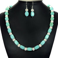 Vintage Turquoise Sterling Silver Necklace Earrings Set Gemstone Jewellery Uk