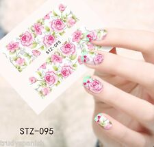 Nail Art Water Decals Wraps Pink Green Vintage Floral Roses Flower Gel Polish 95