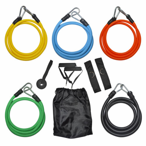5x Resistance Bands Different Strength with Door Anchor Ankle Straps Handles