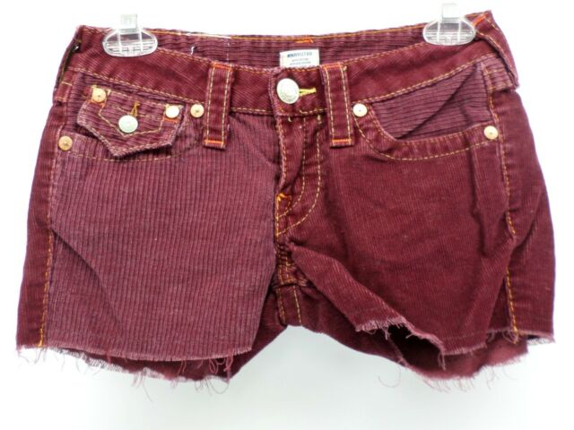 TRUE RELIGION 24 Burgundy Corduroy Cut-Off Shorts Floral Brand Patch Size 26