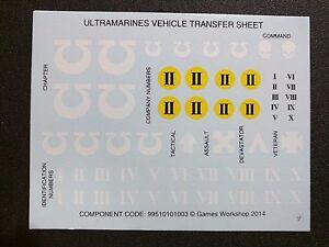 Warhammer 40k Space Marines Ultramarines Vehicle Transfer Sheet Bits