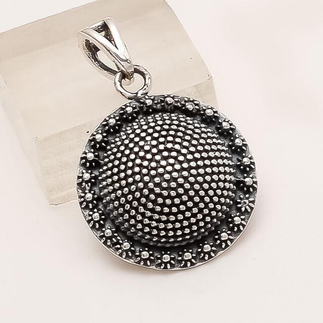 925 Sterling Silver Vintage Shield Pendant Handmade Ethnic Retro Fine Jewelry AA