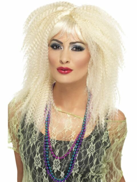 80s Trademark Crimp Wig Blonde Ladies 1980s Fancy Dress Accessory New
