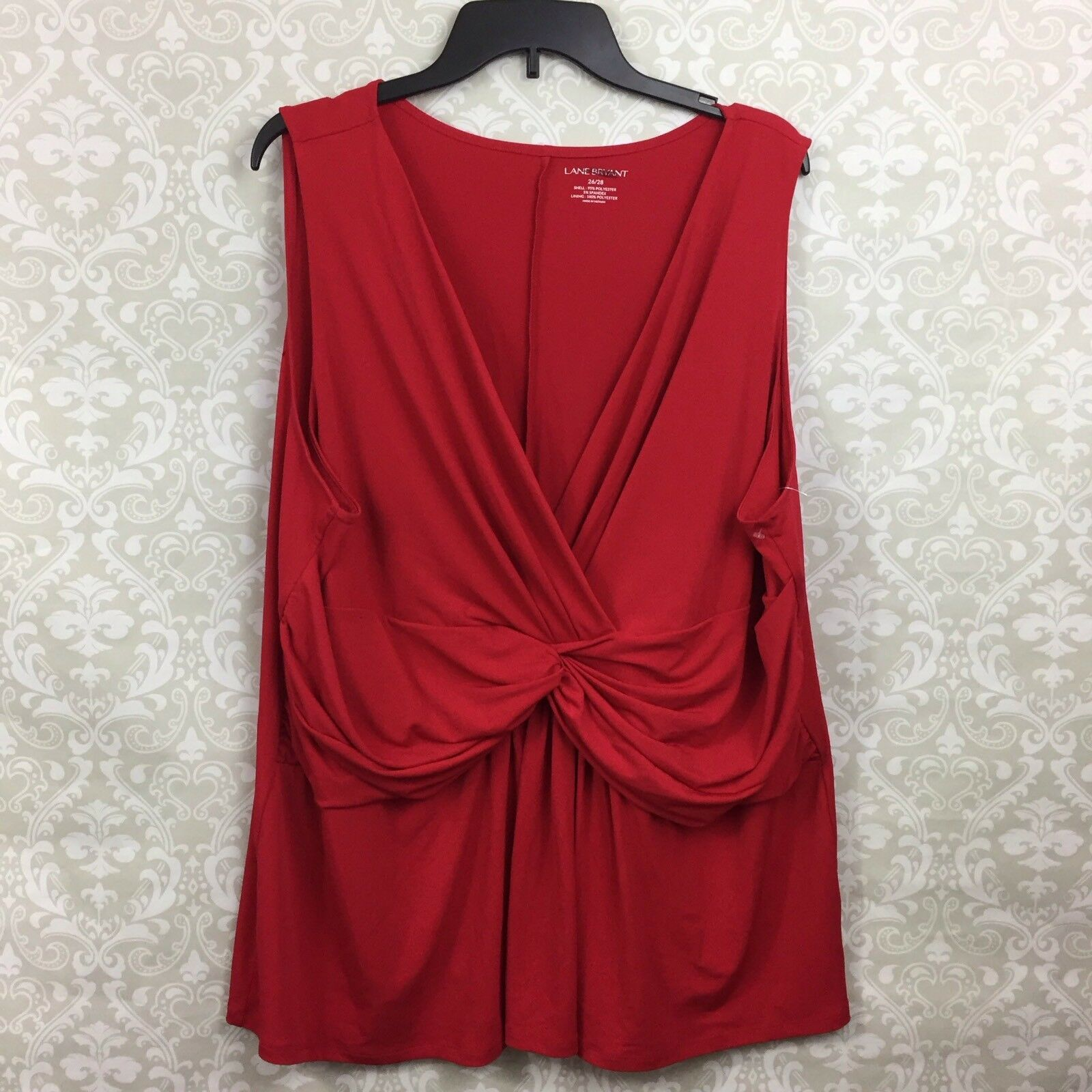 Lane Bryant 26 28 Plus Womens Red Rouched Holiday Sleeveless Blouse L8 L9