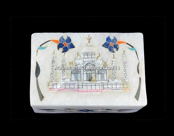 3 x2 x2  Marble Jewelry Decorative Box Tajmahal Replica Inlay Design Decor H5485