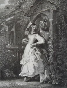 RUSTIC-ROMANCE-Love-Cottage-Porch-Knight-amp-His-Princess-1840s-Antique-Print