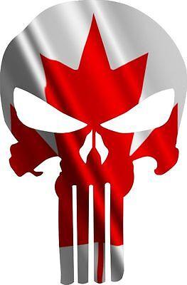 """Skull Flag Canada Car Bumper Sticker Decal  /""""SIZES/'/'"""