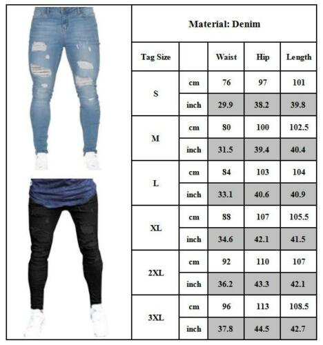 Mens Skinny Distressed Frayed Trousers Casual Patchwork Denim Stretchy Jeans