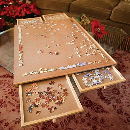 Jumbo Size Wooden Puzzle Plateau Fiberboard Four Sliding Drawers Storage System