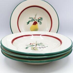 Hartstone-Sugar-Sugar-Soup-Bowls-Set-4-Fruit-Pine-Pear-Grape-Apple-Plum-Holiday
