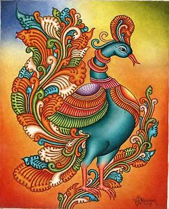 Kerala Mural Painting Handmade South Indian Nature Bird Ethnic