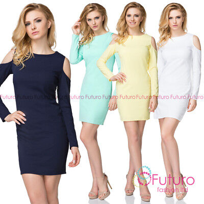 Casual Cut Out Shoulder Long Sleeves Dress Sexy Trendy Fashionable Tunic Fk1509
