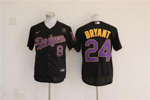 Details about Men's LA Dodgers #24 Kobe Bryant Black With Purple KB Patch MLB Cool Base Jersey