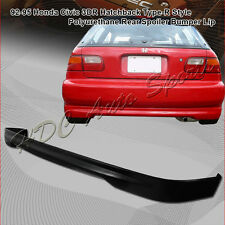 For 1992-1995 Honda Civic Hatchback TR Style Polyurethane Black Rear Bumper Lip