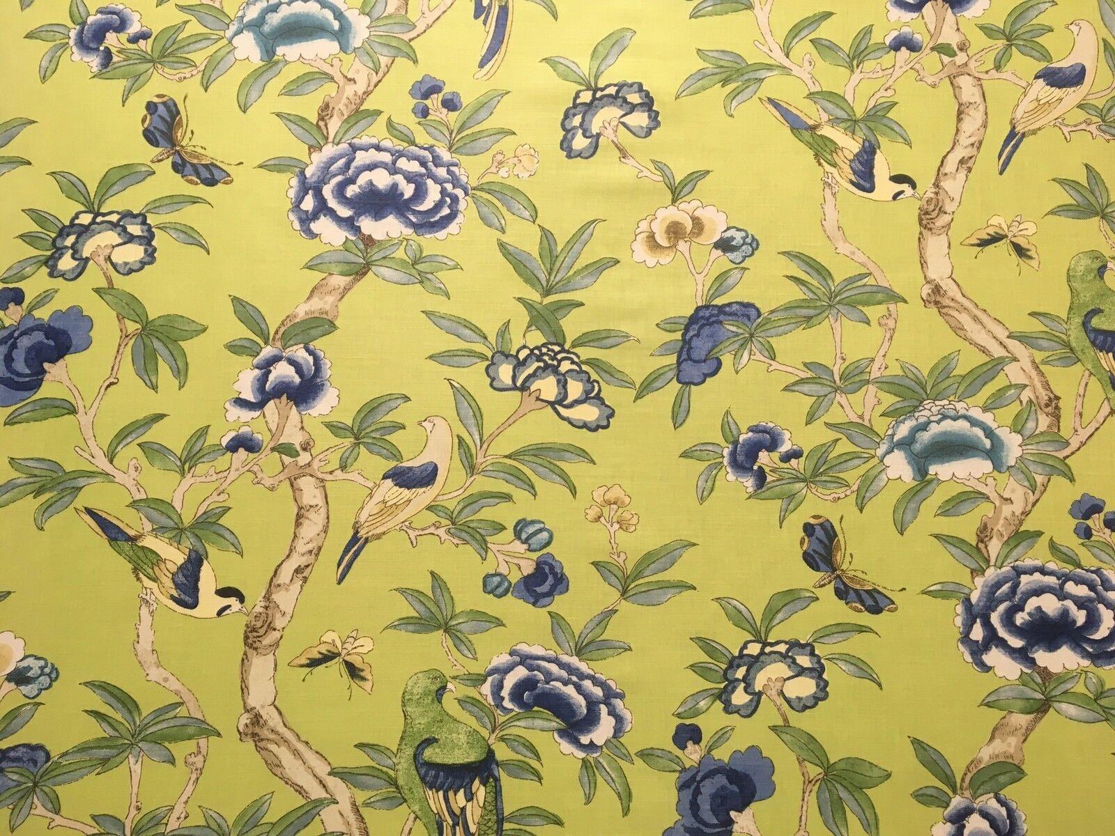 Thibaut Giselle tessuto per tende cuscino Cieco verde lino cotone Birds 2.2 M