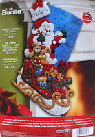 86359 Bucilla santa & His Sleigh Teddy Bear, Toys Felt Stocking Kit - Nip