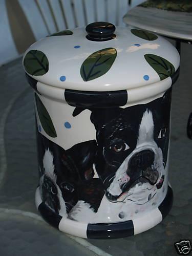 Tattoo DOG canister Cookie Jar Boston Terrier X X X lrg 54848c