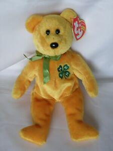 2005 Ty Beanie Baby 4-H CLUB Yellow Green Clover Bear w/ All Tags