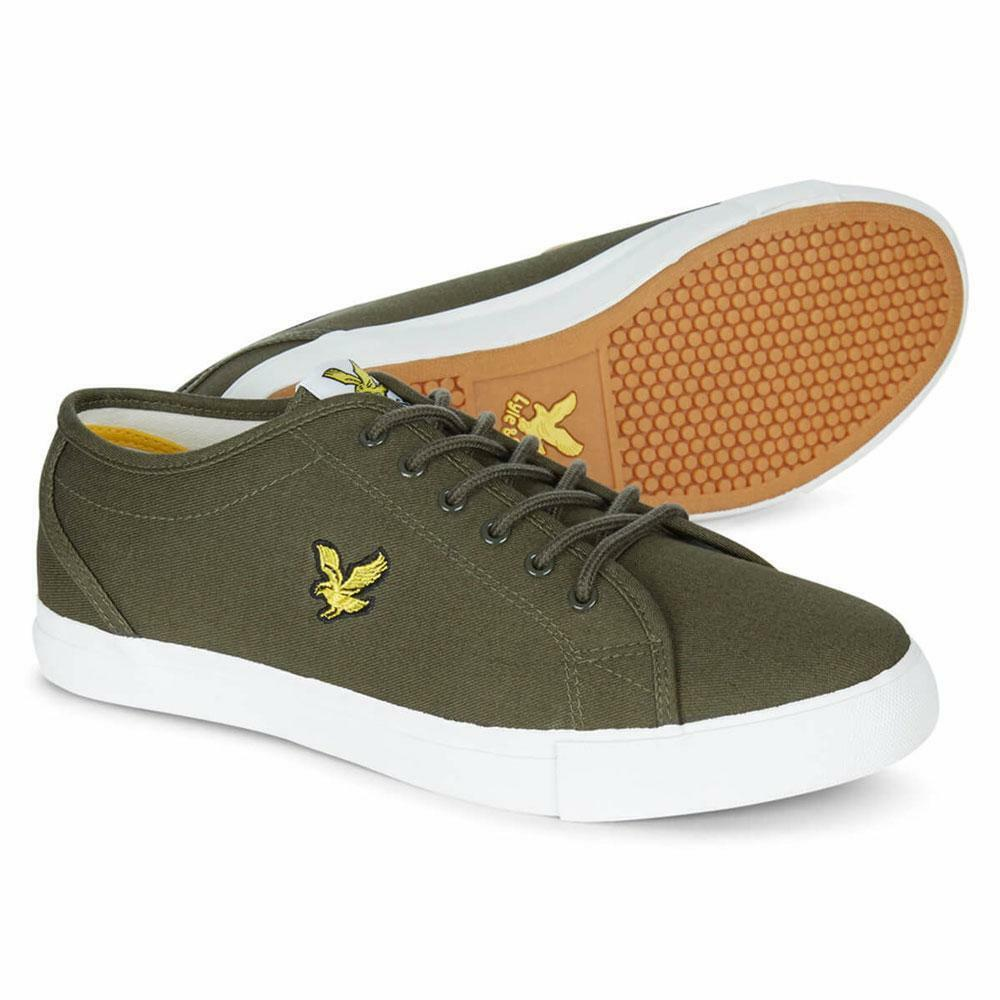 Lyle & Scott Teviot Ship Canvas Trainers Olive Grün Weiß Ship Teviot Worldwide 2ed2e1