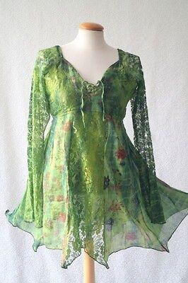 Green tie dye fairy pixie medieval pagan handfasting blouse dress 10-12