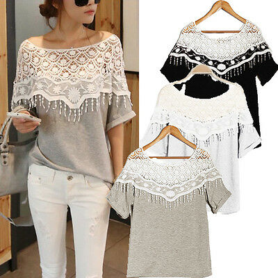 Sexy Womens Hollow Lace Crochet Shoulder Batwing Short Sleeve T Shirt Blouse Top