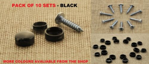 MAZDA SELF TAPPING SCREWS AND CAPS CAR NUMBER PLATE FIXING KIT BLACK