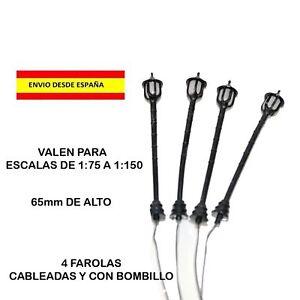 4-FAROLAS-ESCALA-N-HO-TRENES-FERROVIARIO-LED-CABLEADO-CON-LUZ-MAQUETAS-DIORAMAS