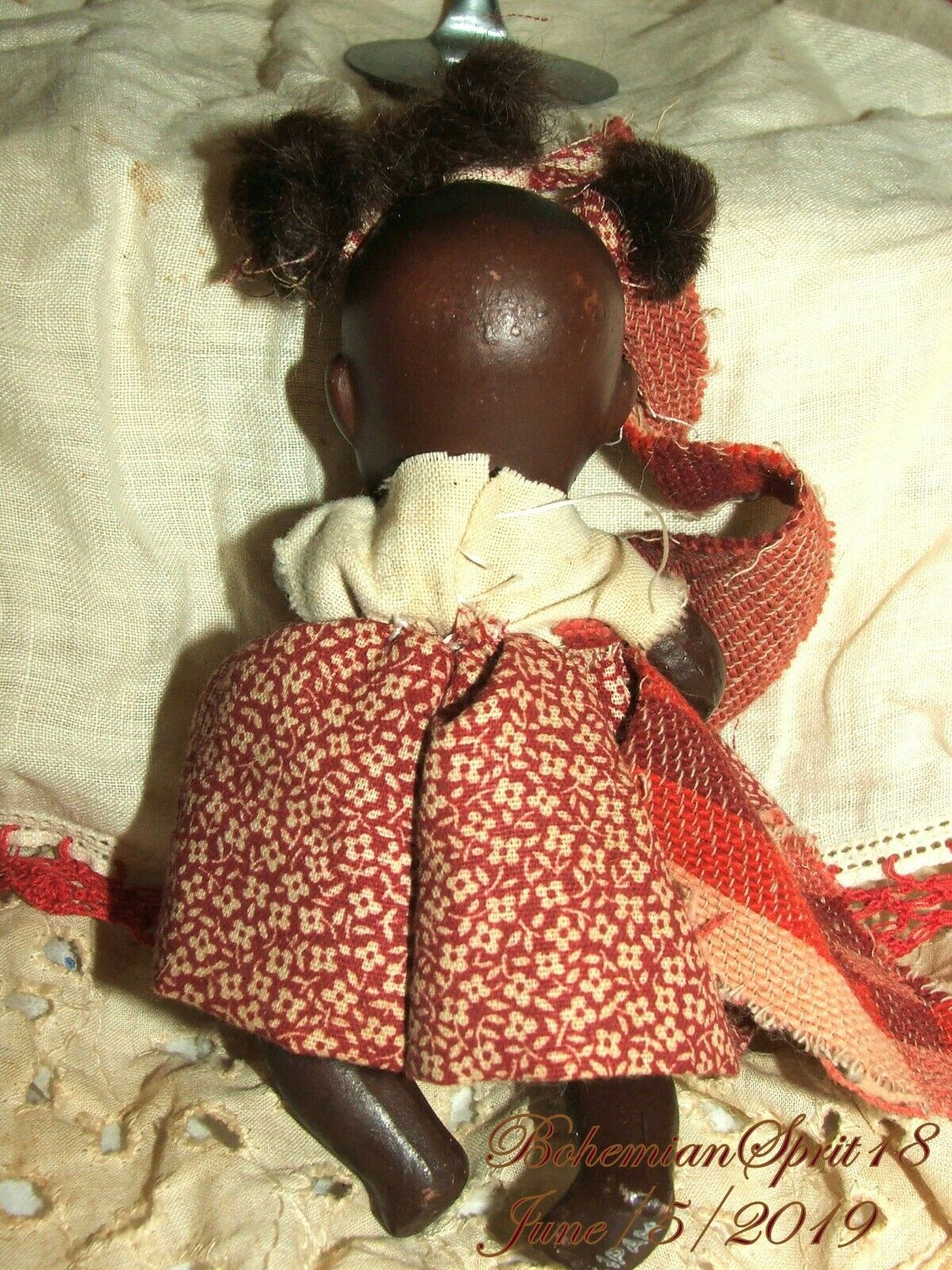Antique 30's Signed Japan African American doppio Jointed Bisque Bisque Bisque 4'' GIRL bambola 9a79f0