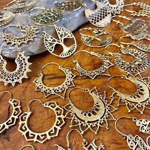 Brass-Tribal-Gypsy-Ethnic-Earrings-Boho-Spirals-Hoops-Indian-Mandala-Many-Design