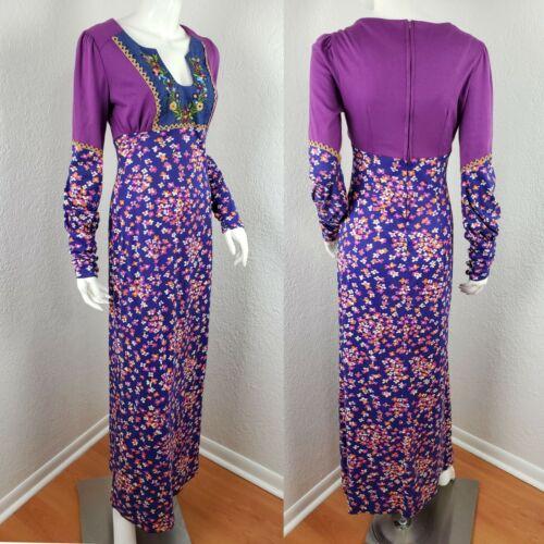 Vtg 70s Flower Power Prairie Maxi Dress Susie Crai