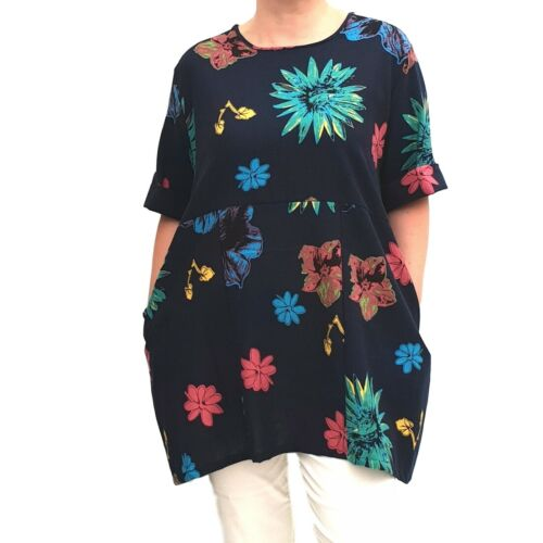 Wolfairy Womens Plus Size Linen Summer Tunic Top Loose Lagenlook Short Sleeve