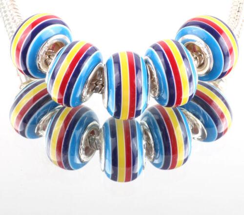 10 X De Rayas Murano encanto grano Azul Rojo Amarillo se adapta a la mayoría de pulsera europea con dije