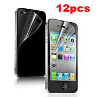 12 pcs 6x(Front+Back) Screen Saver Cover HD clear Protector Film For iPhone 4 4S