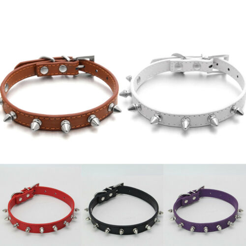 RA/_ Fashion Spiked Studded Faux Leather Adjustable Pet Puppy Cat Dog Collar Re
