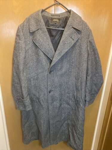 Virany Grey Tweed Coat Men's Size 40 100% Wool Bel