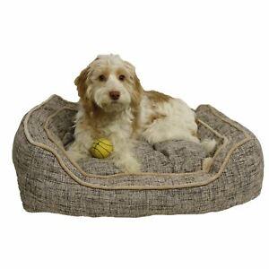 Luxury-Slate-amp-Oatmeal-Square-Dog-Bed-Bedding-Large-32-034
