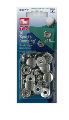 Prym recharge 10 st boutons-pression sport /& Camping 15 MM Argent Couleur 390202