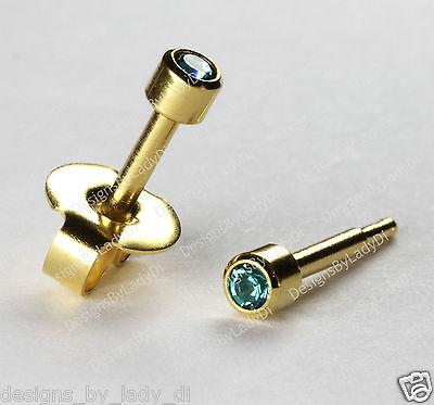Mini Gold Ear Piercing Earrings Studs 3mm December Gem Hypoallergenic
