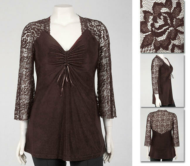 NEW   Zaftique ADJUSTABLE LACE TOP Coffee Brown 0Z 1Z 5Z   14 16 32   L XL 1X 5X
